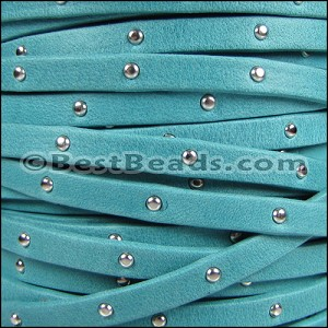 5mm flat STUDDED ARIZONA leather TURQUOISE - per 5 meters