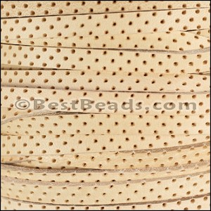 5mm flat PERFORATED leather NATURAL- per 10m SPOOL