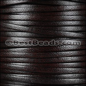 5mm flat CAMEL leather DARK BROWN - per 20m SPOOL
