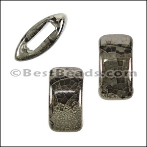 10mm flat GREY:BLACK 10mm Wide Ceramic bead - per 10 pcs