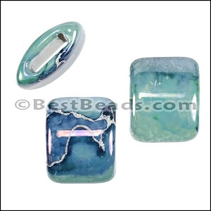 10mm flat LILAC:GREEN:BLUE 15mm Wide Ceramic bead - per 10 pcs