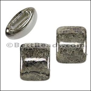 10mm flat GREY:BLACK 15mm Wide Ceramic bead - per 10 pcs