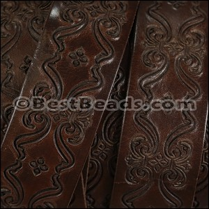 30mm flat ENGRAVED leather DARK BROWN - per meter