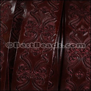 30mm flat ENGRAVED leather BORDEAUX - per meter