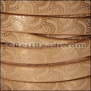 10mm Flat EMBOSSED leather STYLE 1 NATURAL with GOLD - per 10m SPOOL