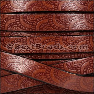 10mm Flat EMBOSSED leather STYLE 1 MAHOGANY with BURGUNDY - per 10m SPOOL