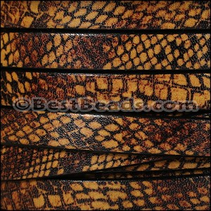 10mm flat EURO PRINTED leather TAN SNAKE - per 2 meters