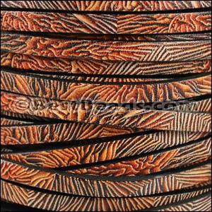 5mm flat EURO PRINTED leather CORAL- per 5 meters