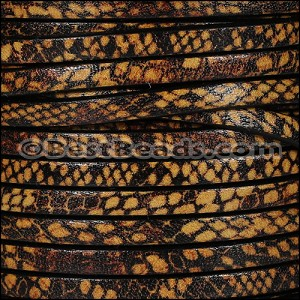 5mm flat EURO PRINTED leather TAN SNAKE - per 5 meters