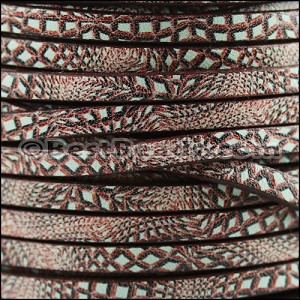 5mm flat EURO PRINTED leather SILVER ZEBRA - per 5 meters