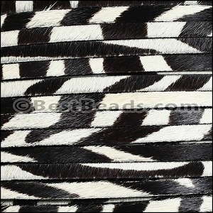 5mm flat HAIR ON leather ZEBRA - per 1 meter