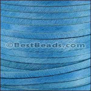 5mm flat HAIR ON leather SKY BLUE- per 10m SPOOL
