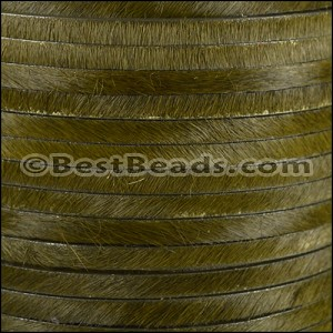 5mm flat HAIR ON leather KHAKI GREEN- per 10m SPOOL