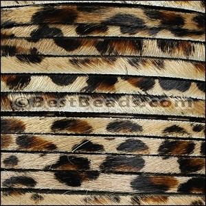 5mm flat HAIR ON leather LEOPARD - per 1 meter