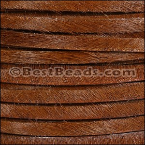 5mm flat HAIR ON leather WHISKEY - per 1 meter