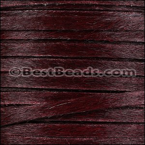 5mm flat HAIR ON leather BURGUNDY - per 10m SPOOL