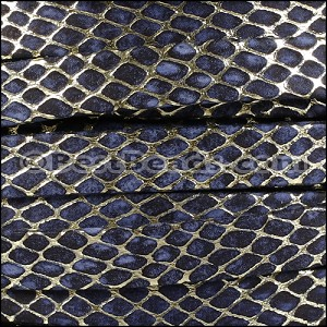 10mm Flat ORION leather NAVY w GOLD - per 2 meters