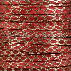5mm Flat ORION leather VERMILION w GOLD - per 20m SPOOL