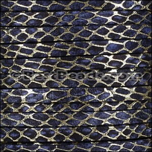 5mm Flat ORION leather NAVY w GOLD - per 20m SPOOL