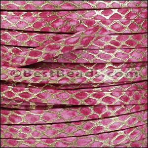 5mm Flat ORION leather FUCHSIA w GOLD - per 5 meters