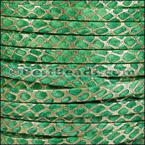 5mm Flat ORION leather GREEN w GOLD - per 5 meters