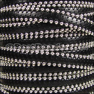 10mm flat BALL CHAIN leather BLACK - per 1 meter