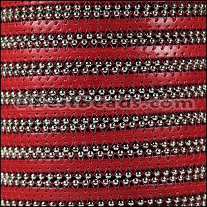 10mm flat BALL CHAIN leather RED - per 1 meter