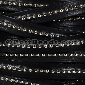 10mm flat CENTER BALL CHAIN leather BLACK - per 1 meter