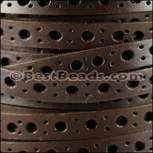 8mm flat DELUX PUNCHED leather BROWN- per 10 meter spool