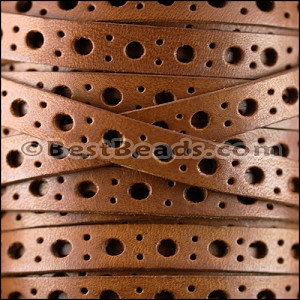 8mm flat DELUX PUNCHED leather TAN- per 10 meter spool