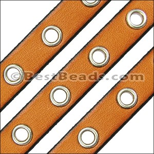 10mm flat EYELET leather TAN - per 10m SPOOL
