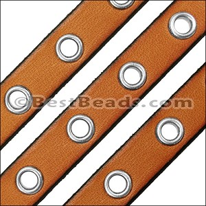 10mm flat EYELET leather TOBACCO - per 10m SPOOL
