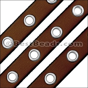 10mm flat EYELET leather BROWN - per 1 meter