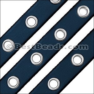 10mm flat EYELET leather PACIFIC BLUE - per 10m SPOOL
