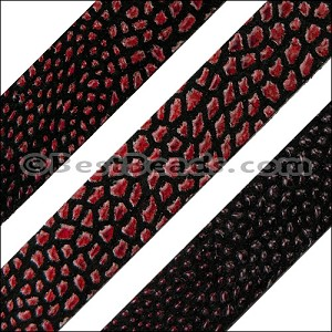 10mm flat FAUX STINGRAY leather RED - per 1 meter