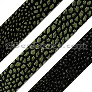 10mm flat FAUX STINGRAY leather GREEN - per 1 meter
