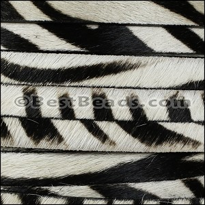 10mm flat HAIR ON leather ZEBRA - per 1 meter