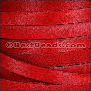 10mm flat HAIR ON leather RED - per 10m SPOOL