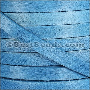 10mm flat HAIR ON leather SKY BLUE - per 10m SPOOL