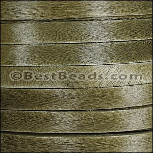 10mm flat HAIR ON leather KHAKI GREEN - per 1 meter