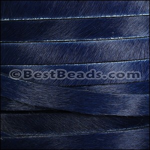 10mm flat HAIR ON leather NAVY BLUE - per 10m SPOOL