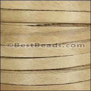 10mm flat HAIR ON leather TAN - per 1 meter