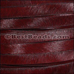 10mm flat HAIR ON leather BURGUNDY - per 10m SPOOL