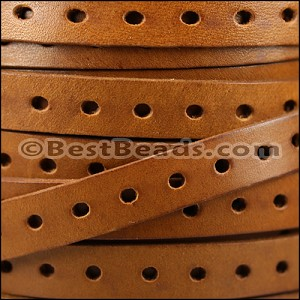 10mm flat PUNCHED leather TAN- per meter