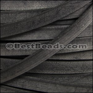 10mm flat VINTAGE leather BLACK - per 20M spool