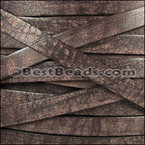 10mm flat VINTAGE leather DARK BROWN - per 2 meters
