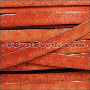 10mm flat VINTAGE leather ORANGE - per 20M spool