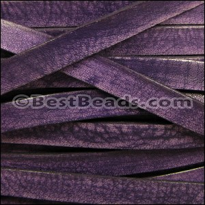 10mm flat VINTAGE leather PURPLE - per 2 meters