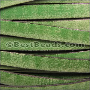 10mm flat VINTAGE leather GREEN - per 20M spool