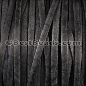 5mm flat VINTAGE leather BLACK - per 20M spool